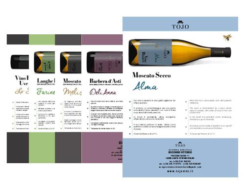 Creazione grafica schede dei vini Tojo